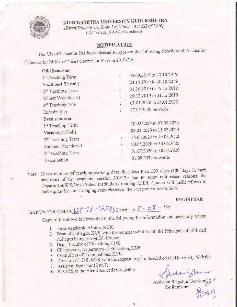 Ku Academic Calendar 2022.Kurukshetra University Kurukshetra