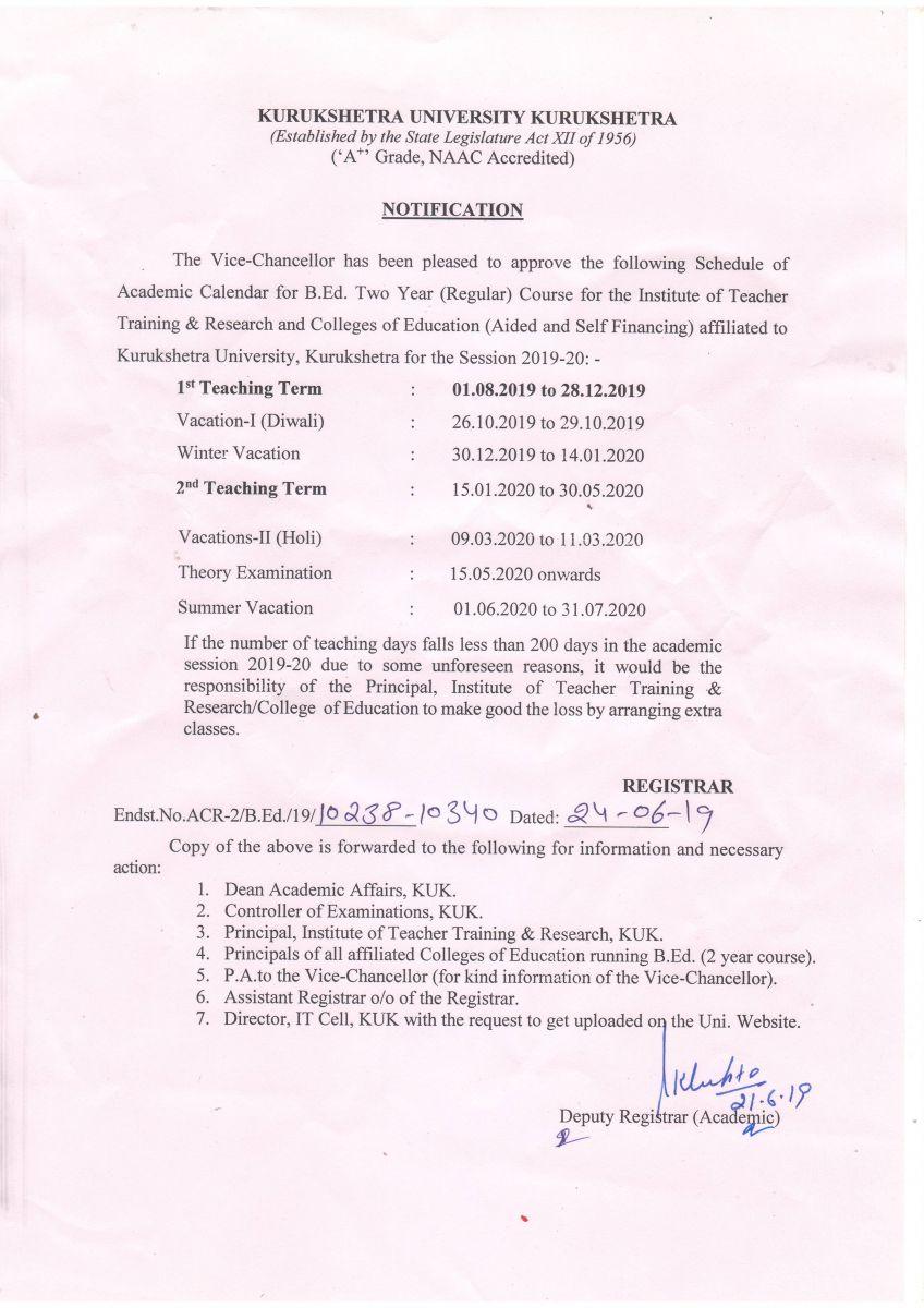 Ku Calendar 2022.Kurukshetra University Kurukshetra